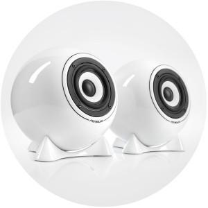 mo° sound Kugellautsprecher classic, weiß. Breitband Lautsprecher, Membrane aus Alum/Mg. Weißes Porzellan Gehäuse