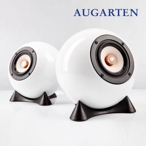 Breitband Kugellautsprecher mit neodymium Magnet. Bambuspapier Membrane und Kupfer Phase Plug. Weißes Augarten Porzellan Gehäuse.
