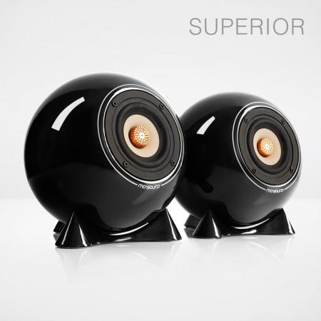 mo° sound Kugellautsprecher, superior, schwarz. Breitbandlautsprecher mit neodymium Magnet. Bambuspapier-Membrane und Kupfer Phase Plug. Schwarzes Porzellangehäuse.