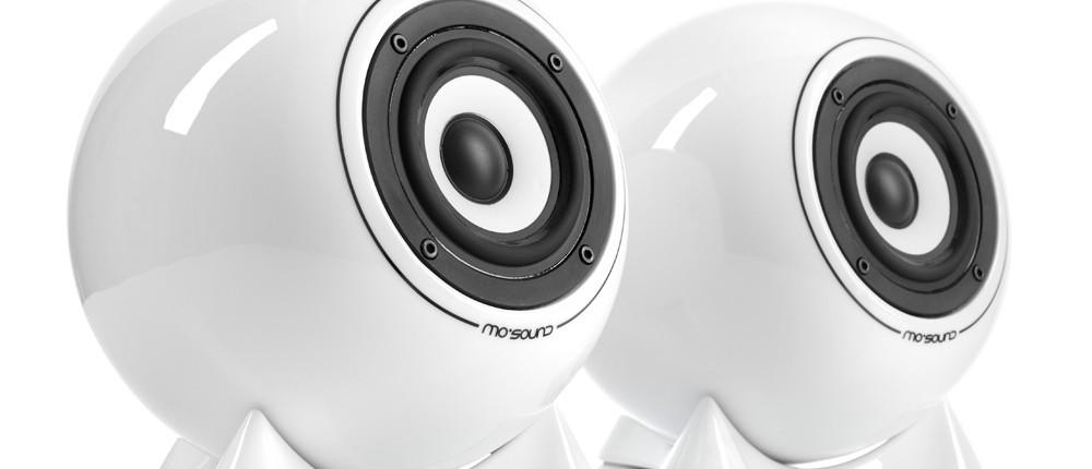 mo° sound Kugellautsprecher, classic, weiß. Breitbandlautsprecher mit Aluminium-Magnesium Membrane.