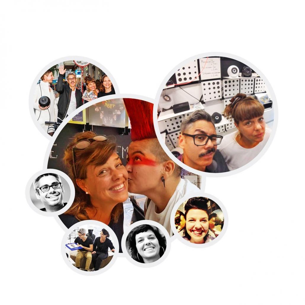 Mann und Frau Audioberater/in und glückliche Kunden und Kundinnen in verschiedenen Bubbles