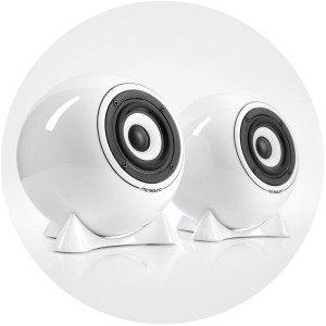 mo° sound Ball Speaker, classic, white. Full range frequency response, diaphram Alum/Mg broadband speaker. White porcelain housing.