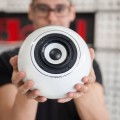 Ronald Jaklitsch holding his mo° sound Porcelain Ball Speaker in hands.