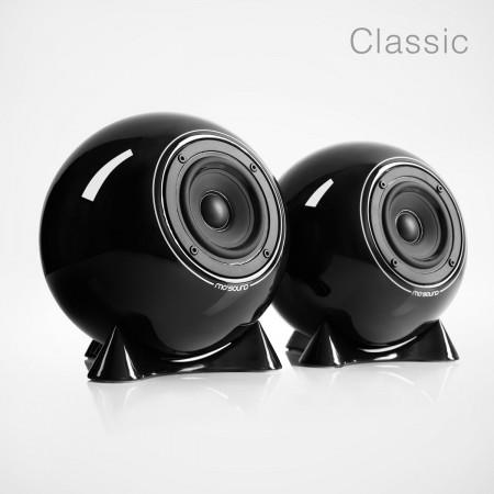 mo° sound Ball Speaker, classic, black. Full range frequency response, diaphram polypropylen broadband speaker. Black porcelain housing.